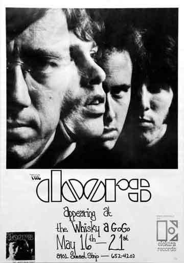 Concert poster, The Doors at Whiskey a Go Go, 1967; from the collection of David Swartz.