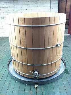 Coppersea Distilling's wooden fermenter.