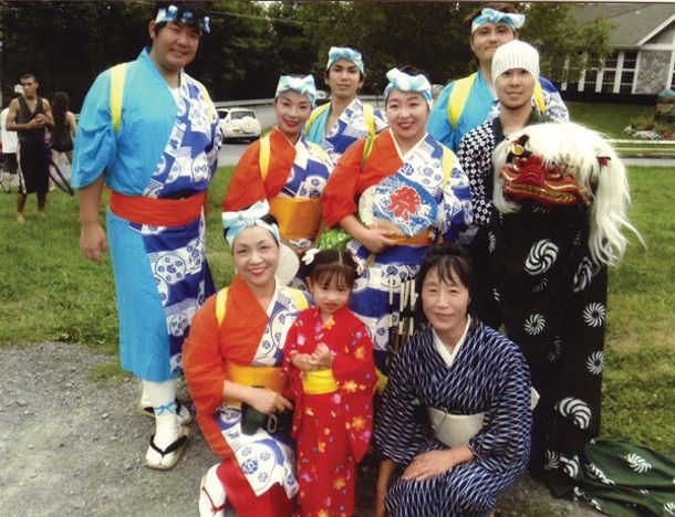 Dancers from the Japanese Folk Institute of New York with Youko Yamamoto of Gomen Kudasai (bottom right), at the Bon-Odori Dance Festival in New Paltz on August 5. Photo provided.