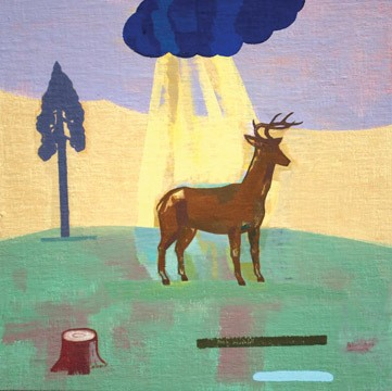 """David Hornung, On Holy Ground, oil on linen over panel, 12"""" x 12"""", 2009."""