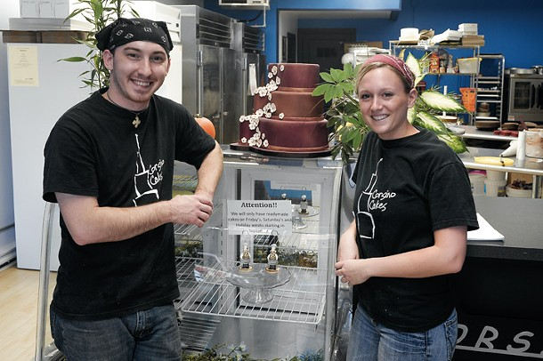 Derek Corsino and Cassie Pells at Corsino Cakes. - ROY GUMPEL