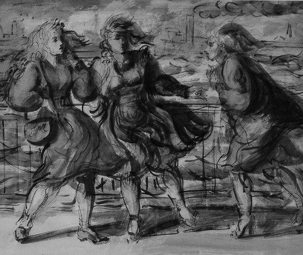 Detail of _The Windy Day_ by Reginald Marsh, a watercolor in the collection of the former Canajoharie Library and Art Gallery, reopening September 23 as the Arkell Museum of Art.