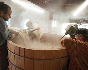 Distillery Manager Christopher Williams, assistant Sam Zurofsky and Master Distiller Angus MacDonald starting a rye whiskey mash.