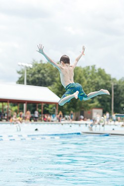 Diving into the pool at the Ulster County Fairgrounds. - THOMAS SMITH