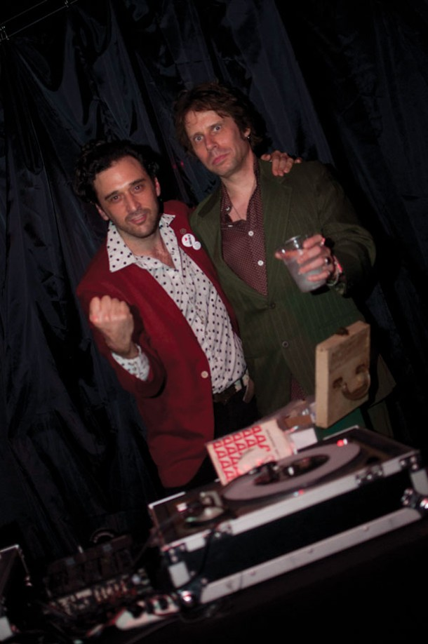 DJ Jonathan Toubin and Chronogram music editor Peter Aaron at the Soul Clap and Dance-Off Party at BSP in Kingston on August 18. Photo by Andrew MacGregor.