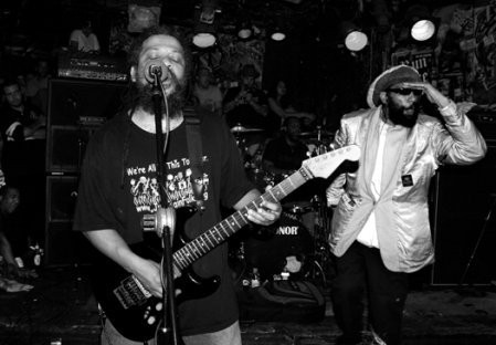Dr. Know and H.R. at the first of the band's three sold-out shows at CBGB in October. - FIONN REILLY