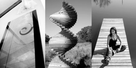 Drawing of Astronomical Sky Spiral on the wall of Daniela Bertol's house—according to Bertol, a spiral is the best shape to express time in space. Time Helix, a wood sculpture designed by Bertol, made of 54 timber segments in 108 rotations. Bertol sitting on the jetty of her Spiral Pond. - FIONN REILLY