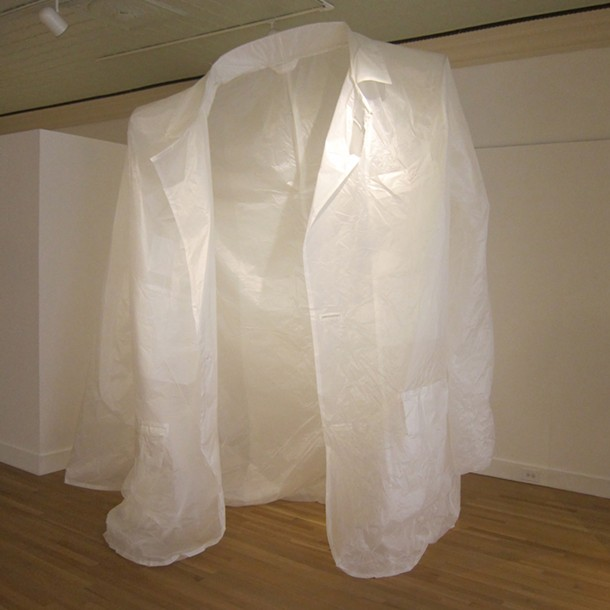 Dust Jacket; Kate Hamilton; Nylon ripstop, thread, polycarbonate plastic, polyester foam batting, aluminum armature wire, velcro; 10.5' x 21.5'; 2013