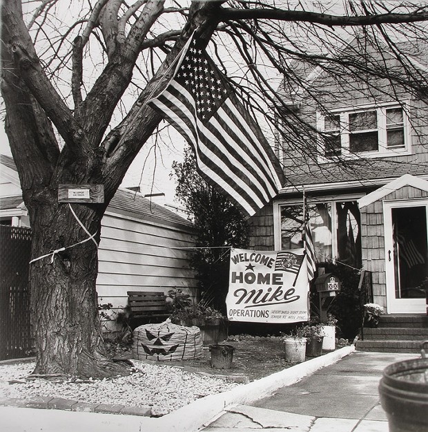 "Edward Coppola, ""Welcome Home Mike,"" gelatin silver print, 15.625"" x 15.5"", 1991."