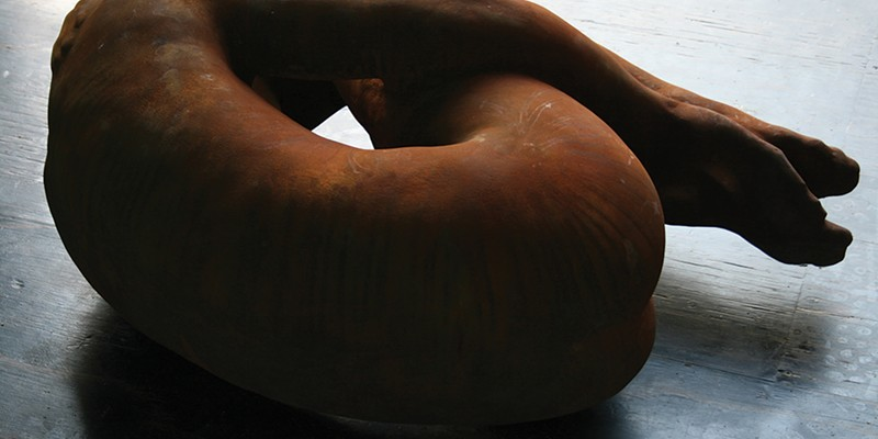 """The Power of Place at HVCCA EMIL ALZAMORA Sleep, 2010 Cement, iron pigment, 16"""" x 36"""" x 32"""""""