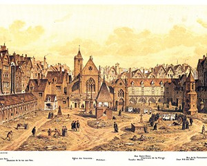 Engraving by Fedor Hoffbauer depicting the Saints Innocents cemetery in Paris around the year 1550.