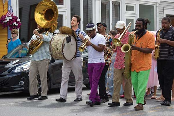 Etienne Charles and his band hit the streets of Tannersville on July 6 for their New Orleans style parade in celebration of Independence Day. Immediately after the parade, they filled the Orpheum to cheering crowds with a high-energy concert.