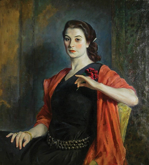 Eugene Speicher, Portrait of a French Girl (Jeanne Balzac), oil on canvas, c. 1924, - Woodstock Artists Association and Museum Permanent Collection.
