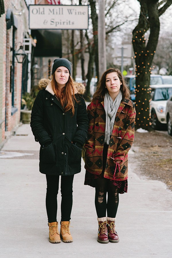 Evelina Brown and Sarah McCausland on January 18 on East Market Street in Rhinebeck - THOMAS SMITH