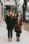Evelina Brown and Sarah McCausland on January 18 on East Market Street in Rhinebeck