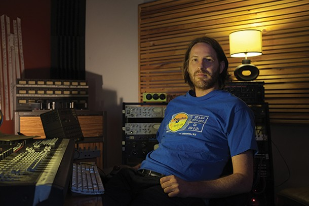 Fat Cat Records US manager Adam Pierce in his home studio in Cornwall-on-Hudson.