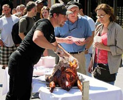 """Fleisher's threw a book launch block party for """"The Butcher's Guide to Well-Raised Meat"""" on July 9. Photo by L. Davies."""