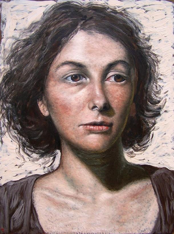 "Francisco Benitez, Celine, encaustic on panel, 24"" x 20"", 2008"