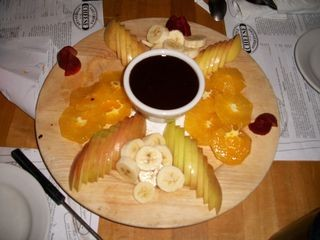 Fruit chocolate fondue at Last Chance cafe in Tannersville