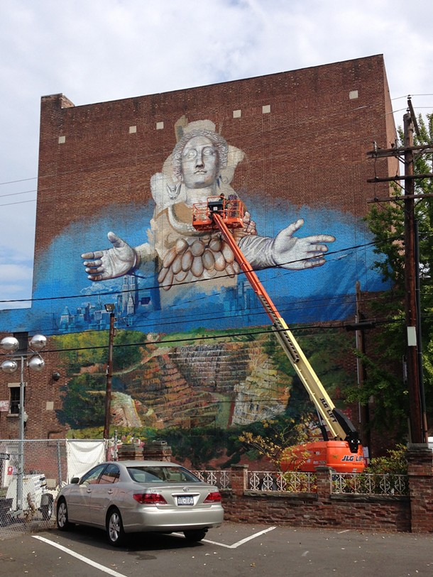 """Gaia's """"Artemis Emerging from the Quarry"""" in process on Crown Street in Kingston."""