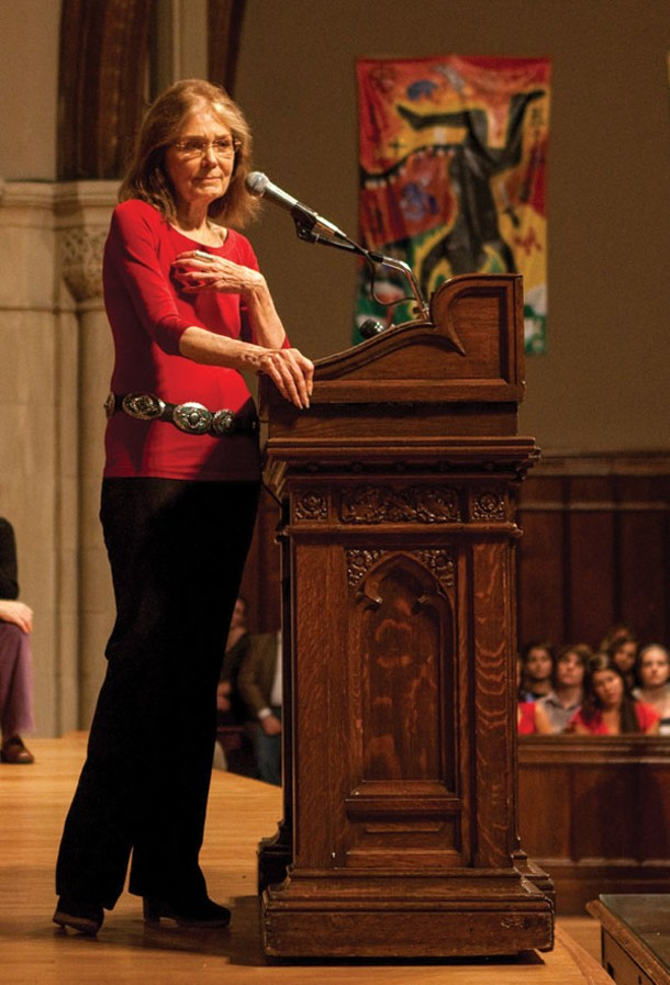 Gloria Steinem marked the 40th anniversary of the publication of Ms. magazine with a lecture in the Chapel at Vassar College in Poughkeepsie on September 19. Photo by Evan Abramson.