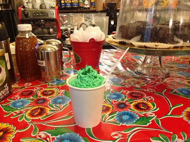 Green cocoa at Lucky Chocolates in Saugerties for the St. Patrick's Day-themed Saugerties First Friday.