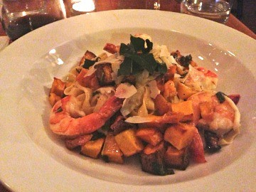 Hand-made fettucini with shrimp, roasted butternut squash and sage butter