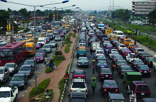 Heavy traffic is seen on the Lagos-Abeokuta Expressway in Nigeria's commercial capital Lagos on November 11, 2010.