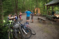 Hikers, bikers, and horseback riders stop by for pizza, dumplings, and salads - ROY GUMPEL
