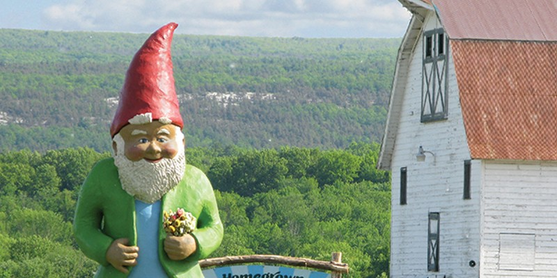 Locally Grown: Homegrown Mini-Golf at Kelder's Farm Homegrown Mini-Golf at Kelder's Farm in Kerhonkson features a two-story tall Garden Gnome statue.