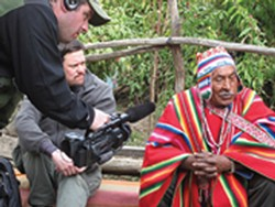 In Bolivia, Jeremy Newberger films linguist Gregory Anderson and Don Francisco Ninacondis, one of 100 surviving speakers of Kallawaya.