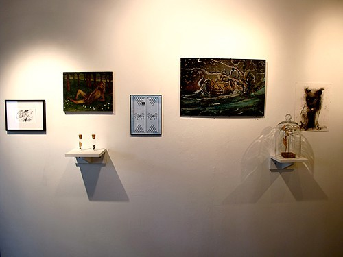 Installation shot of Mythical Beasts at One Mile Gallery.