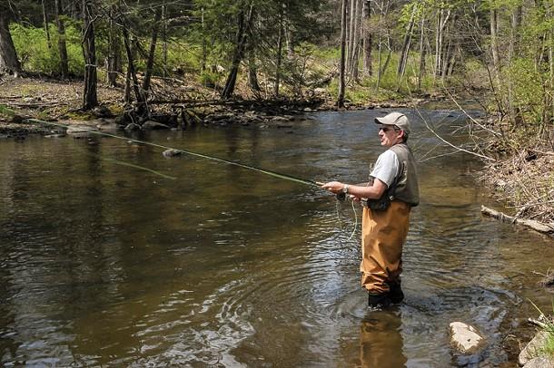 Jeff Greenwald trout fishing in Katonah. - DAVID MORRIS CUNNINGHAM