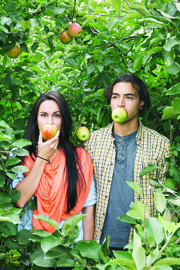 Jen Petronzio and John Romaro apple picking at Penning's Farm in Warwick. - THOMAS SMITH