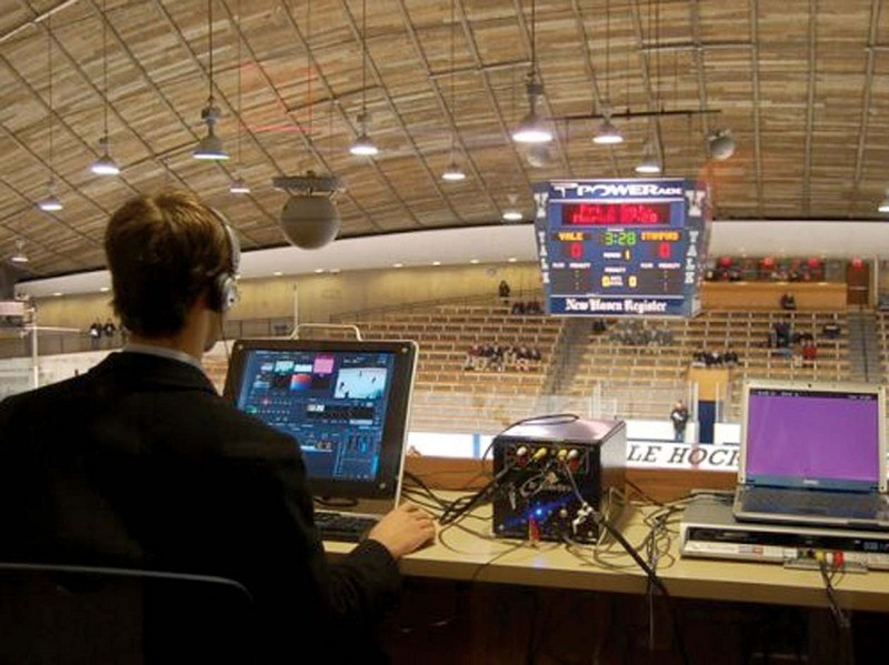 Jesse Bruen  of South Kent School filming a live webcast of the Varsity 'A' hockey team at Yale University.