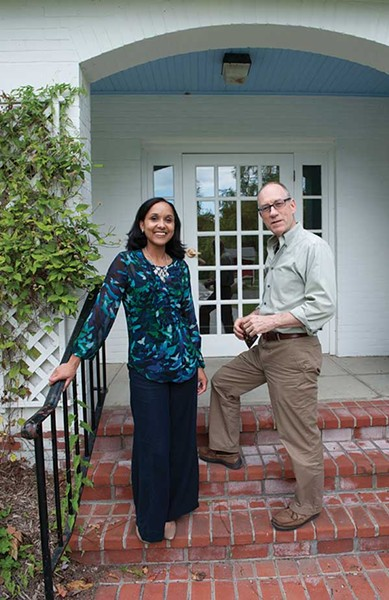 Joanna Baker, Assistant Director of Admissions, with Greg Armbruster, Associate Director of Admissions, outside their office at Bard College.