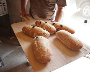 Kalamata olive bread at Bread & Bottle in Red Hook.