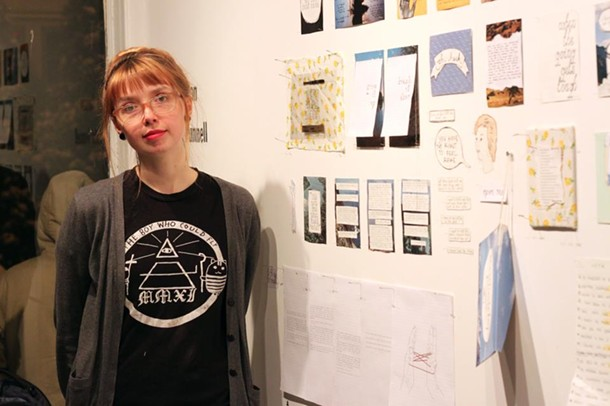 """Kate Larson at the """"9 and 13"""" exhibition at Team Love RavenHouse Gallery in New Paltz on March 18."""