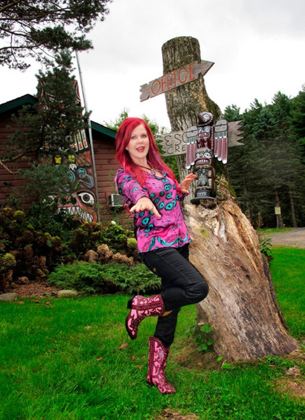 Kate Pierson outside her motel in Mount Tremper, Kate's Lazy Meadow.