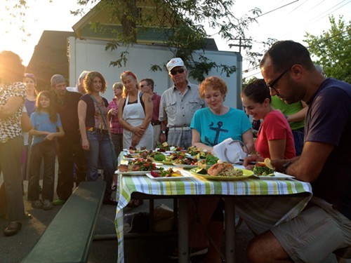 Kathleen Reynolds, Eve Fox, and Michael Rosario judge 9 different dishes made of market ingredients