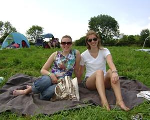 KellyAnne and Rachel enjoying the first sunny day in weeks at the Falcon Ridge Folk Festival.