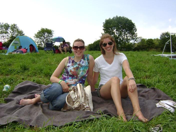KellyAnne and Rachel enjoying the first sunny day in weeks at the Falcon Ridge Folk Festival. - RACHEL CAREY