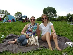 KellyAnne and Rachel enjoying the first sunny day in weeks at the Falcon Ridge Folk Festival. - RACHEL CAREY