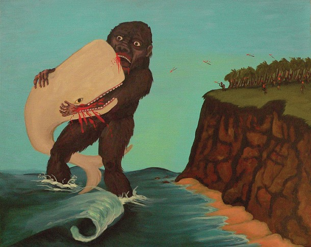 """King Kong vs. Moby Dick II, Michael X. Rose, oil on canvas, 16"""" x 20"""", 2009"""
