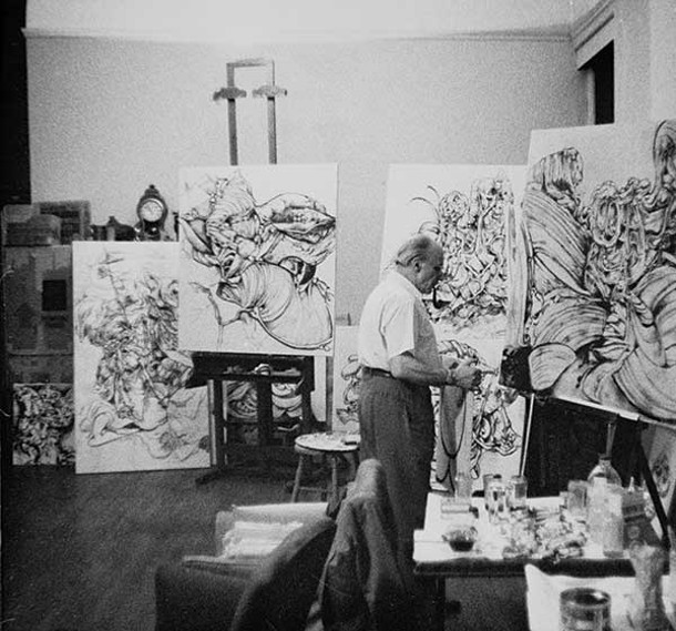 Kurt Seligmann working in his Sugar Loaf studio. - IMAGE PROVIDED