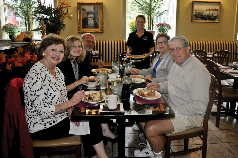 (l to r): Jan, kate and Mark Brunkhorst, Jenn Lingle, Dave and Carol Hammond at Fratello - DAVID CUNNINGHAM