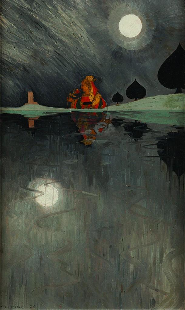 La Dame de pique (Queen of Spades), Georges Malkine, oil and collage on board, 38 x 23 cm, 1926
