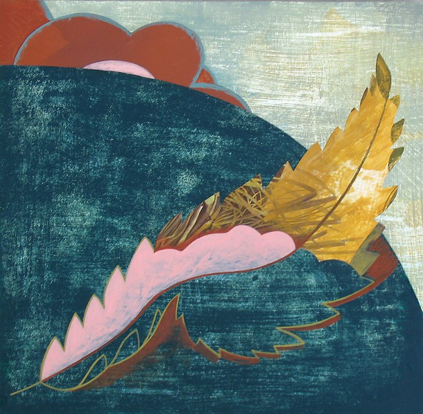 """""""Leaf in a Landscape no.1"""", Joy Taylor, acrylic, paper, mylar on panel, 10 x 10 inches"""