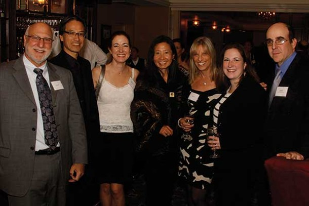 (Left to right) Mark Soss, Elizabeth Simon, Gar Wang, Carol Soss, Lisa Gubernick, and John F. Simon Jr. at the Orange County Arts Council County Art Awards on November 9 at the Powelton Club in Newburgh. Image courtesy of E&J Photography.