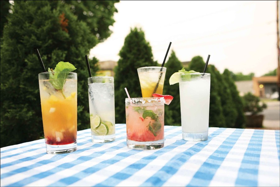 Left to right: Peach Julep (Douglass Miller, CIA); Caipirinha (Paul Maloney, Stockade Tavern); Strawberry Mint Margarita (Theresa Fall, 36 Main); Super Summery White Sangria (Sally Rich, Karma Lounge); Thai Boxer (Wesley Dier, the Local). - AMBER C. MCPHAIL